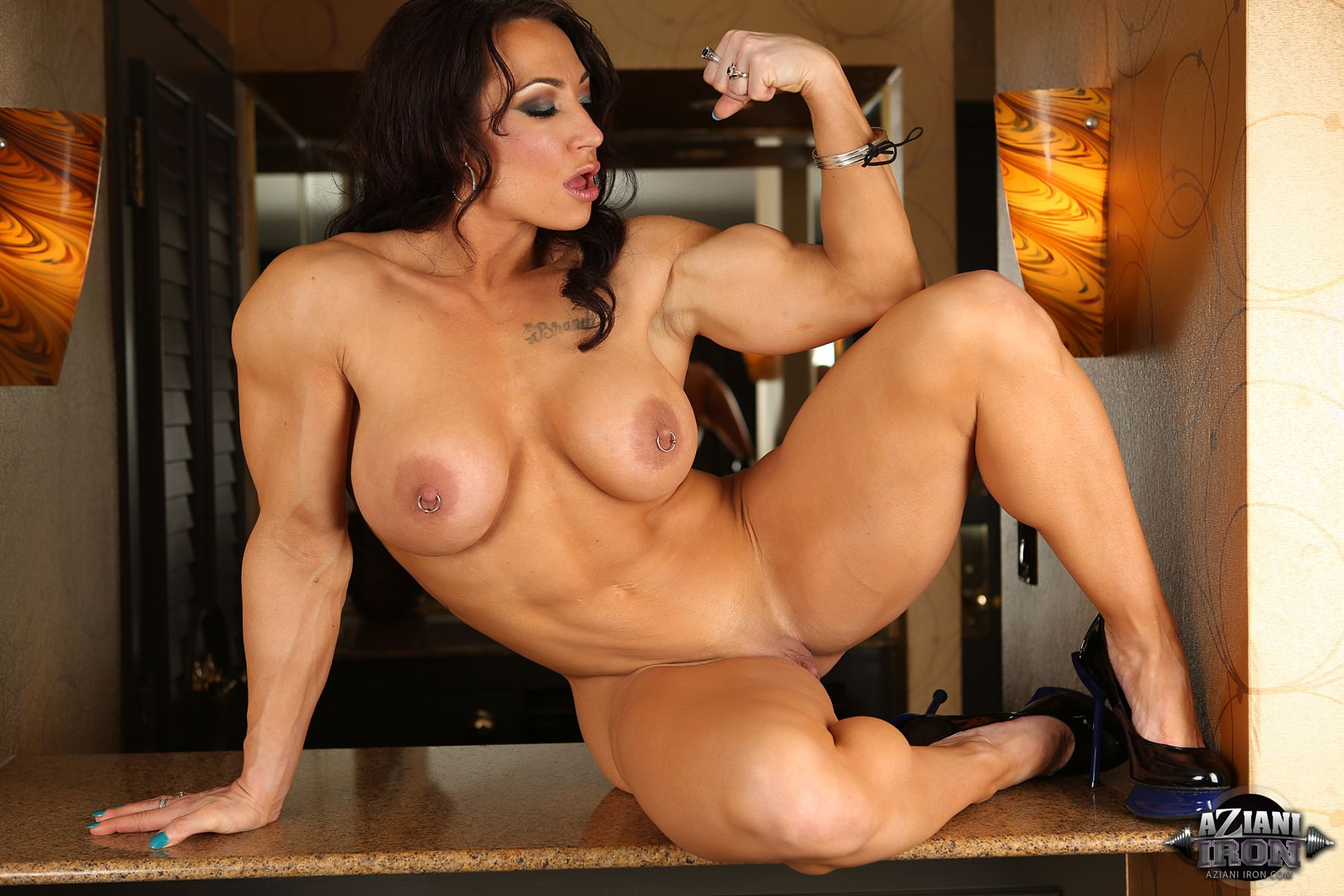 Amber michaels pec flex and tit shaking 5